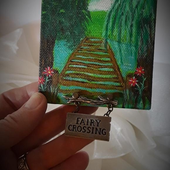 "BeaslePunk Art Original Other - Fairy Crossing - mini canvas art original 3"" x 3"""